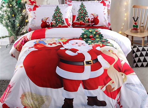Ericdress 3D Santa and Christmas Tree Printed Cotton 4-Piece White Bedding Sets