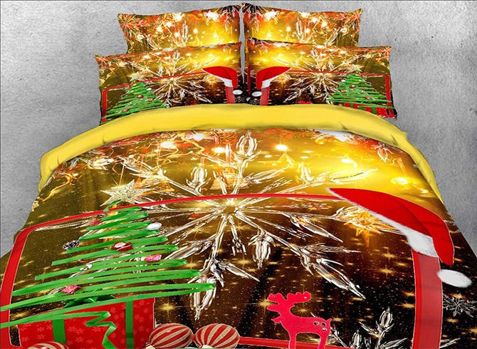 Vivilinen 3D Christmas Gift and Snowflake Printed Cotton 4-Piece Bedding Sets/Duvet Covers
