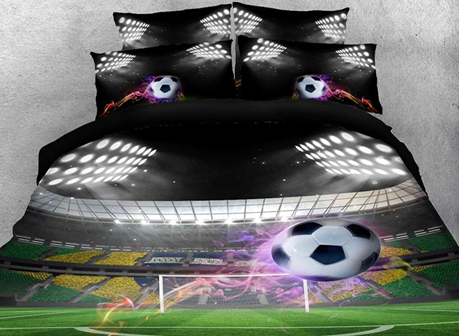 Vivilinen 3D Flying Soccer Ball under Stadium Lights Printed Cotton 4-Piece Bedding Sets