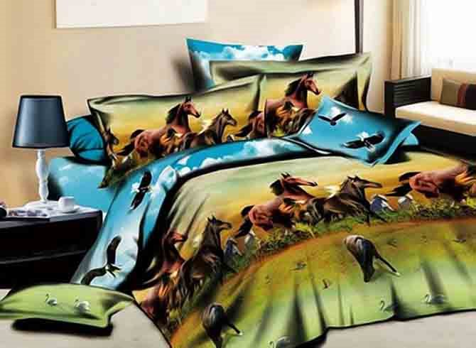 Vivilinen 3D Running Horses Printed Cotton Rustic Style 4-Piece Bedding Sets/Duvet Covers