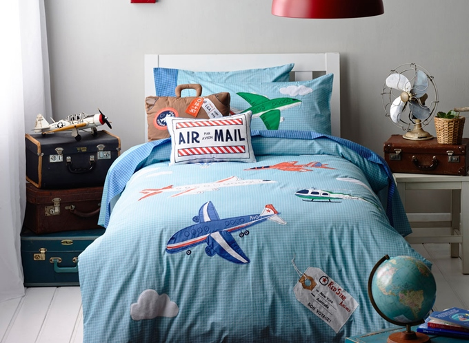Vivilinen Blue Plane on the Sky Print 4-Piece Cotton Kids Duvet Cover Sets