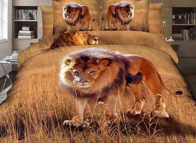 Vivilinen 3D Lion on Grassland Printed Cotton 4-Piece Bedding Sets/Duvet Covers