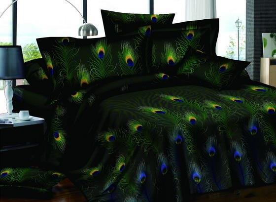 Vivilinen Pastoral Green 4-Piece Peacock Feathers Printed All Cotton Bedding Sets