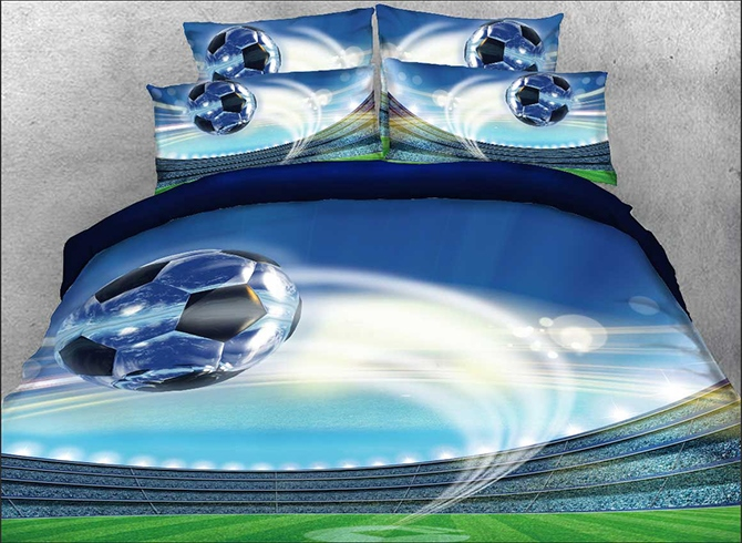 Vivilinen 3D Flying Soccer Ball Printed Cotton 4-Piece Bedding Sets/Duvet Covers
