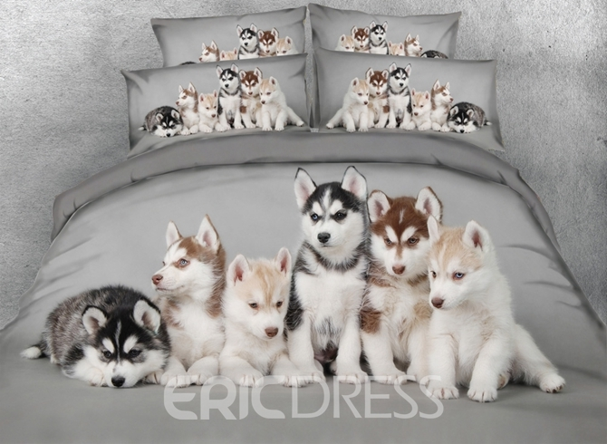Vivilinen 3D Husky Puppies Printed 4-Piece Bedding Sets/Duvet Covers