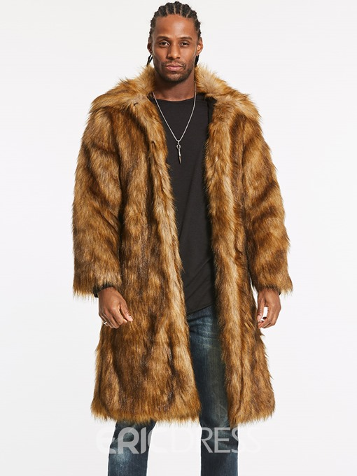 Ericdress Faux Fur Lapel Long Vogue Small Size Men's Winter Coat