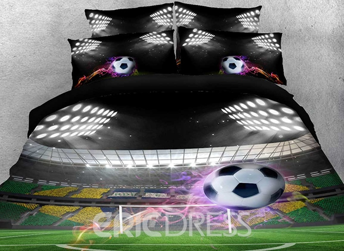 Vivilinen Flying Soccer Ball Under Stadium Lights Printed Cotton 4 Piece Bedding Sets