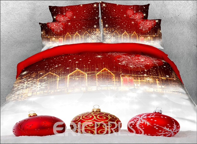Vivilinen 3D Red Christmas Ball Ornaments Printed Cotton 4-Piece Bedding Sets/Duvet Covers
