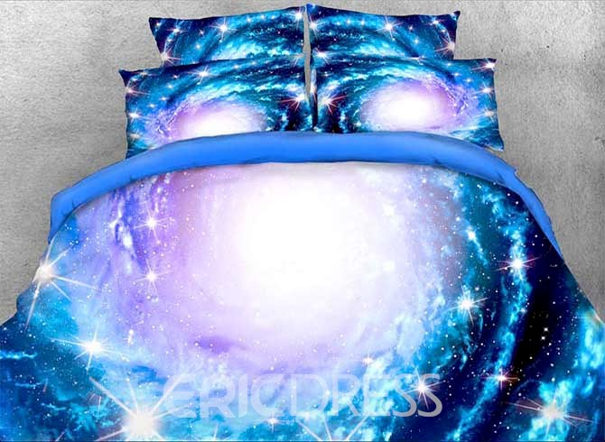Vivilinen Onlwe 3D Spiral Galaxy and Stars Printed 4-Piece Blue Bedding Sets/Duvet Covers