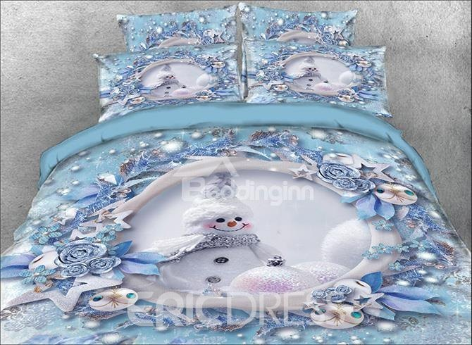 Vivilinen Onlwe 3D Snowman and Christmas Ornaments Printed Cotton 4-Piece Bedding Sets/Duvet Covers