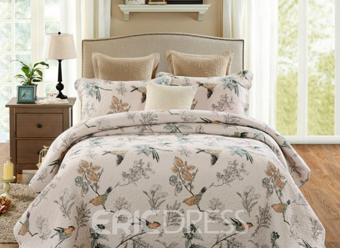 Vivilinen Pastoral Style Birds with Branches Print Patchwork Cotton 3-Piece Bed in a Bag
