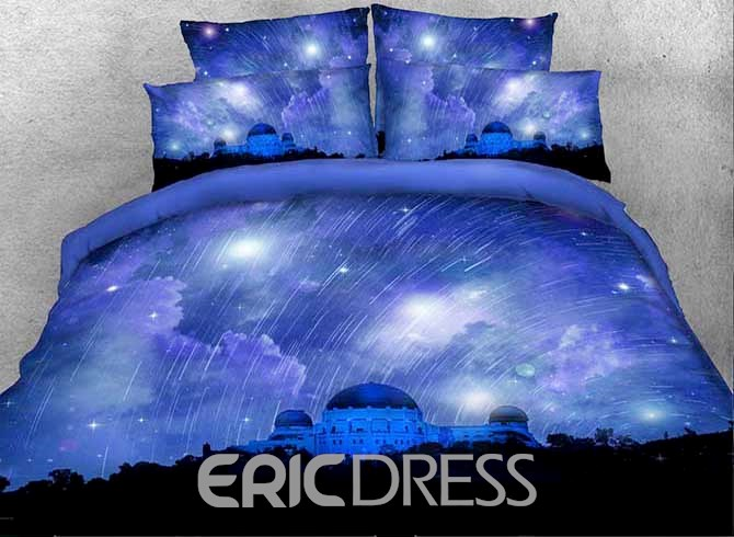 Vivilinen 3D Castle and Meteor Shower Printed Cotton 4-Piece Bedding Sets/Duvet Covers