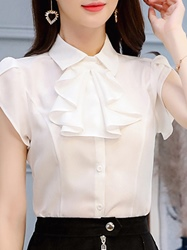 Image of Ericdress Womens Plain Single-Breasted Short Sleeve Blouse