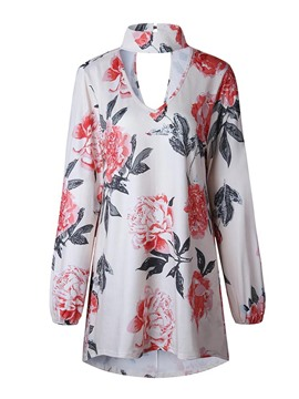 Ericdress Women's Floral Print Loose Tee Shirt