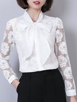 Ericdress Lace Mesh Plain Bowknot Long Sleeve Blouse
