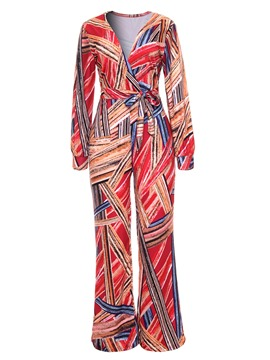 Ericdress Print Wide Legs V-neck Jumpsuits Pants