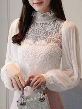Ericdress Women's Chiffon Lace Lantern Sleeve Blouse