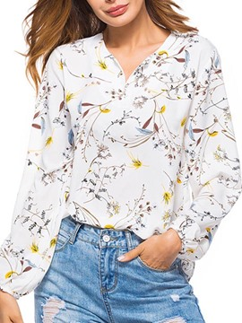 Ericdress Women's Floral Casual V-Neck Blouse