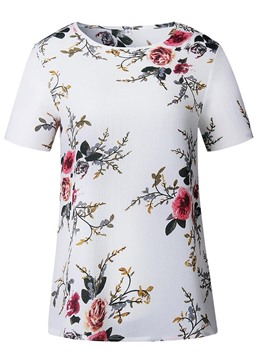 Ericdress Women's Print Scoop Floral Tee