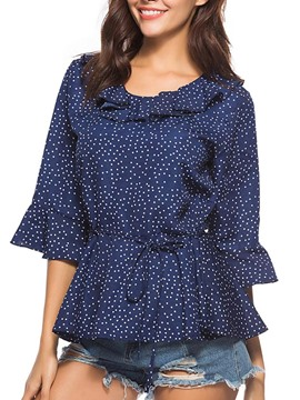 Ericdress Women's Polka Dots Tunic Short Sleeve Blouse