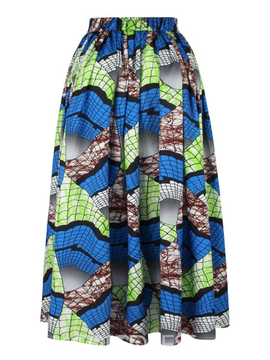 Ericdress Print Mid-Calf Pleated Usual Skirts