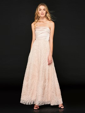 Ericdress Strapless A Line Long Prom Dress