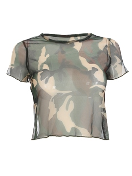 Ericdress Camouflage Scoop Crop Womens T Shirt