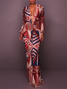 Ericdress Print V-Neck Long Sleeve Maxi Dress