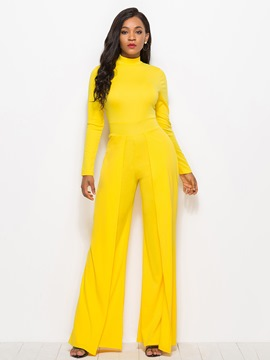 Ericdress Plain Wide Leg Women's Yellow Jumpsuit