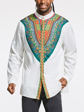 Ericdress Dashiki African Print Slim Fit Men's Shirt