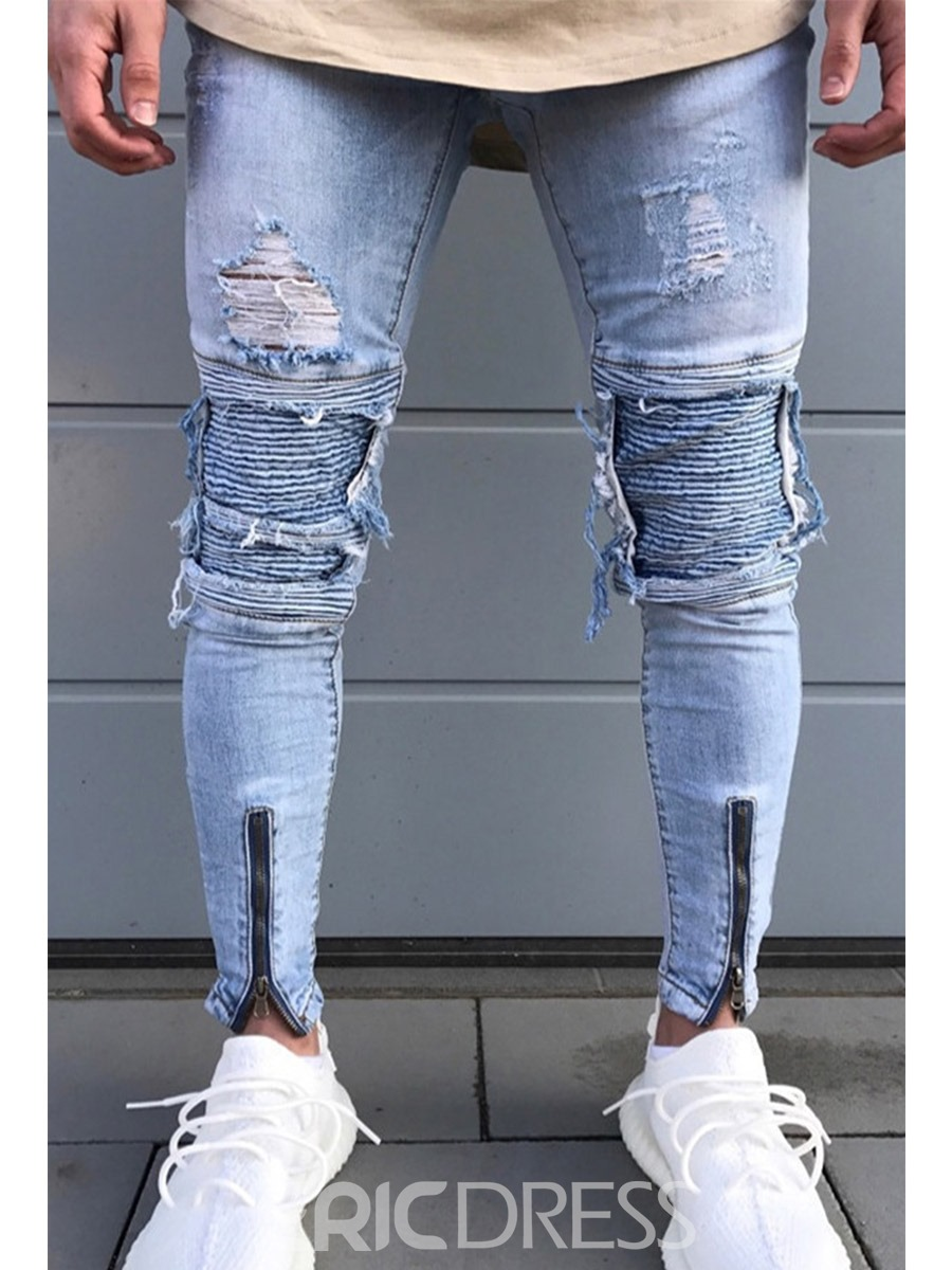 Ericdress Ripped Slim Zipper Worn Men's Denim Pencil Pants