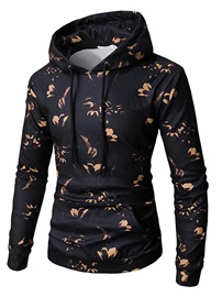 Ericdress Floral Printed Lace Up Pullover Mens Casual Hoodies