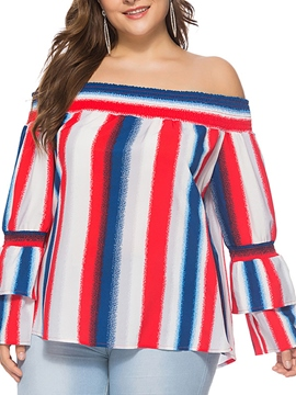 Ericdress Stripe Color Block Patchwork Layered Long Sleeve Plus-Size Womens Top