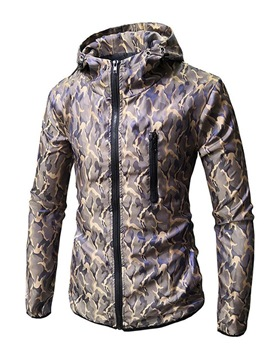 Ericdress Printed Slim Fit Hooded Mens Anorak Jacket