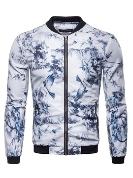 Ericdress Chinese Print Stand Collar Zipper Mens Casual Bomber Jacket
