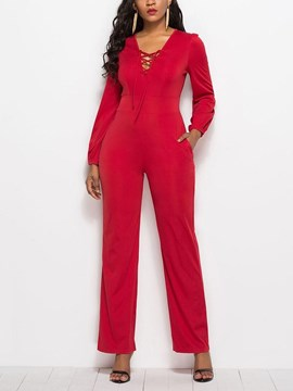 Ericdress Slim Lace-Up Plain Women's Jumpsuit
