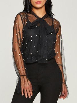 ericdress sheer maille perles bowknot lanterne manches blouse