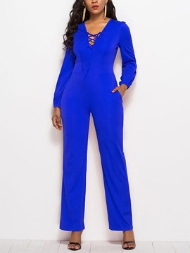 Ericdress Lace-Up Slim Plain Women's Jumpsuit