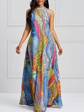 Ericdress Geometric Print Sleeveless Floor-Length Women's Dress