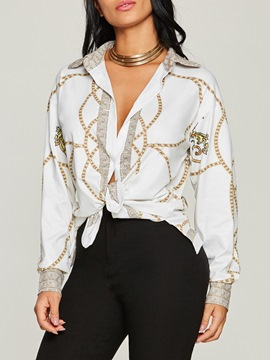 Ericdress Slim Lapel Dashiki Print Single-Breasted Top