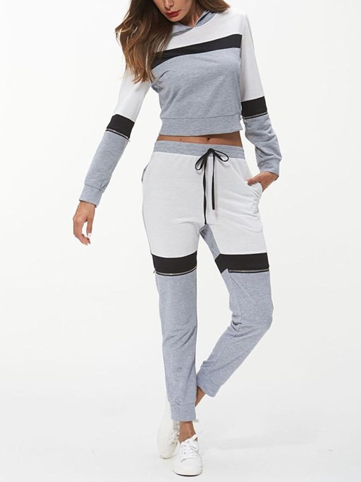 Ericdress T-Shirt and Pants Sports Long Sleeves Women's Two Piece Set