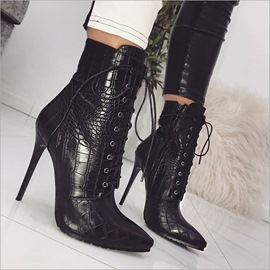 Ericdress PU Side Zipper Stiletto Heel Women's Ankle Boots