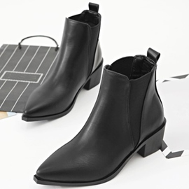 Ericdress Patchwork Pointed Toe Chunky Heel Chelsea Boots
