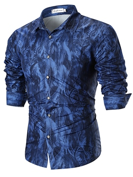 Ericdress Printed Long Sleeve Loose Button Up Mens Casual Ball Shirts