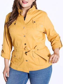 Ericdress Plain Belt Button Pocket Plus-Size Trench Coat