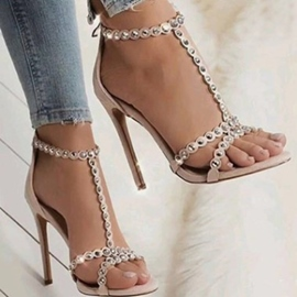 Ericdress Rivet Zipper Stiletto Heel Women's Sandals