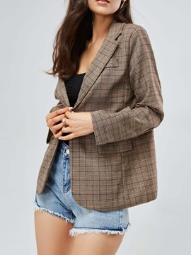 Ericdress Plaid Single-Breasted Pocket Fashion Blazer