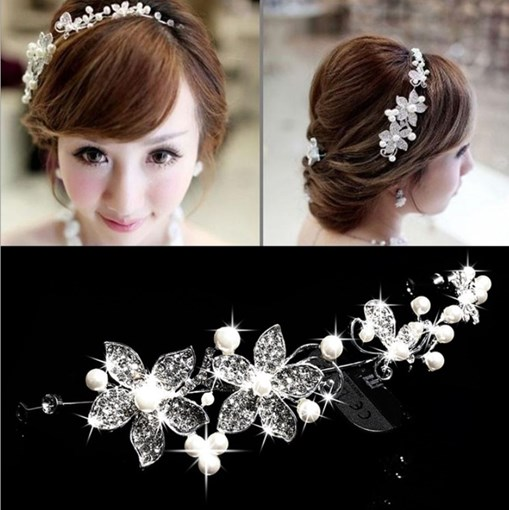 Ericdress Pearl Flower Wedding Bridal Tiara