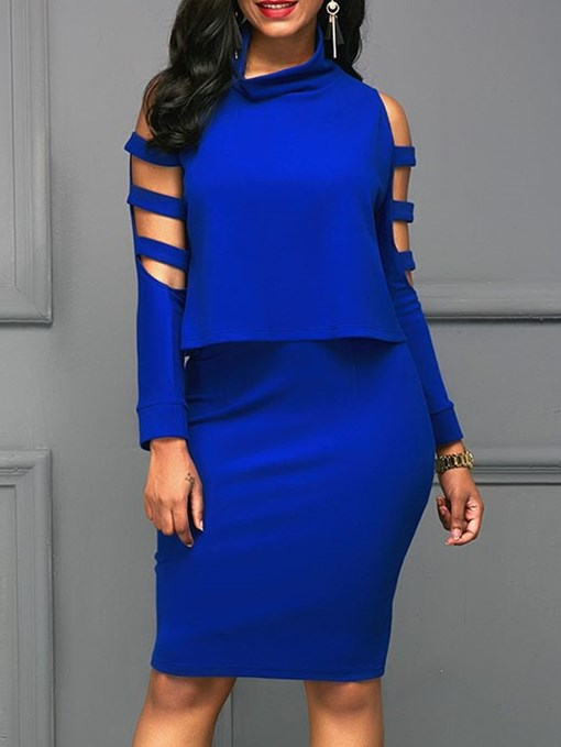 Ericdress Plain Cold Shoulder Bodycon T-Shirt and Skirt Women's Two Piece Set