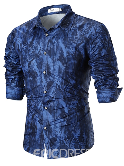 Ericdress Printed Loose Button Up Mens Casual Ball Shirts